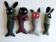 Cat fish stuffy made from upholstery samples