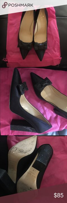 Kate Spade Black Bow Vintage Style heels Vintage Kate Spade Black with glitter Bow & Heels made in Italy slightly worn once for a wedding kate spade Shoes Heels