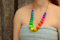 Necklace. Rainbow Necklace. Felted Necklace. HandiCraftKate, $50.00
