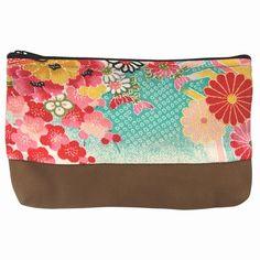 Trousse zippée japonaise en daim et tissu traditionnel