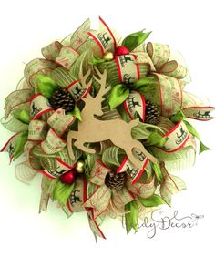 Deco Mesh Christmas Wreath, Deer wreath, Weinachtskranz, from Europe by TrendyDecorShop on Etsy