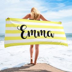 Personalized Name Blankets Rainbow Family, White Names, Block Fonts, Striped Towels, Font Names, Personalised Blankets, Burnt Orange, Lilac