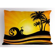 Beach Pillow Sham Summer Holiday Themed Wave and Tree Silhouette Sun Rays Tropical Composition, Decorative Standard Queen Size Printed Pillowcase, 30 X 20 Inches, Black Orange Yellow, by Ambesonne