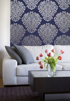 Decorate a feature wall or an entire bedroom with a wallpaper effect using one of our most popular wall stencils! Our Grand Damask Wall Stencil coordinates well with the smaller wall stencil Grand Dam