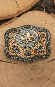 Crumrine Silver with Gold Cowboy Scull Fashion Belt Buckle   Cavender's