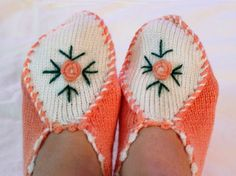 Hand knitted women's winter warm slippers, house socks, home shoes, Turkish Knitted slippers, Authentic footwear, Traditional Socks
