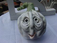 A Handmade Folk Art Pumpkin Clay Sculpture by GardenSpellGhostTale, $45.00