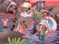 Hippos by Loreta Isac Elephant, Age, My Favorite Things, Beach, Illustration, Painting, Animals, Instagram, Animales