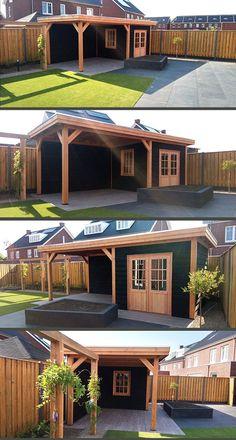 Backyard Pavilion, Backyard Bar, Backyard Sheds, Small Backyard Landscaping, Outdoor Garden Rooms, Outdoor Pergola, Back Garden Design, Modern Garden Design, Patio Deck Designs