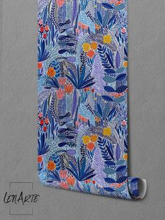 Blue Wildflower Removable Wallpaper - Wall Art - Wall Decor - Abstract - Repositionable - Self Adhesive - Tropical - Mural - Nature - 128 Tropical Interior, Tropical Decor, Coastal Decor, Boho Decor, Southwestern Decorating, Tuscan Decorating, Interior Decorating, Interior Design, Decorating Tips