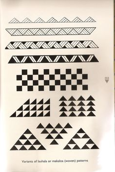 Traditional Hawaiian woven patterns for tattoos; typically symbolize women and women's work