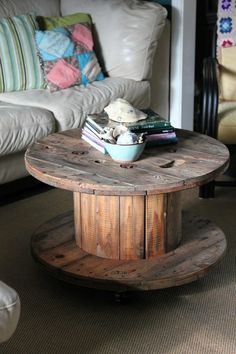 'This was our coffee table growing up (without the wheels) my mom was years ahead of pinterest!! Use bigger ones for outdoor table, smaller ones for end tables. White wash for shabby chic, modernize with glass top, and place books around bottom for maximum storage use!!' #nashintmomcave