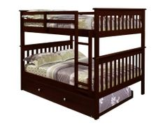 Amazon.com - Bunk Bed Full over Full Mission Style in Cappuccino with Trundle and FREE Waterproof Full Mattress Protector by Bella Sleep - Full over full with a trundle -- What awesome slumber parties you could have, but changing the sheets would be pretty hideous