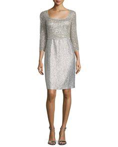 3/4-Sleeve Embellished Sheath Dress, Silver