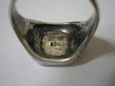 Jugendstil ring. 800 silver. Signet ring. View 3.