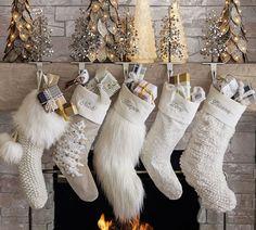 Mongolian Faux Fur Personalized Stocking | Pottery Barn Scandinavian Christmas Ornaments, White Christmas Stockings, Country Christmas Decorations, Farmhouse Christmas Decor, Christmas Ideas, Xmas, Christmas Traditions, Vintage Christmas, Christmas Crafts
