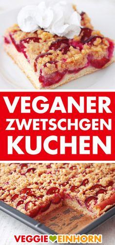 Veganer Zwetschgenkuchen vom Blech ▶ Herrlich saftig und super lecker ▶ Vegan plum cake from sheet with yeast dough. Try this juicy plum cake with delicious sprinkles. Vegan baking with Veggie Unicorn. Food Cakes, Aperitivos Vegan, Bolo Vegan, Fall Recipes, Vegan Recipes, Recipes With Yeast, Plum Cake, Vegetarian Appetizers, Vegan Pumpkin
