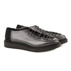 Pantofi dama casual din piele naturala gri 1567
