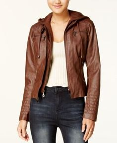 Maralyn & Me Juniors' Hooded Faux-Leather Jacket - Brown XXL