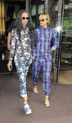 Melissa Forde and Rihanna in tomboy florals.