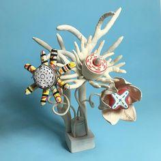 Manic Flowers mixed bouquet, textile art by Cecile Noldus