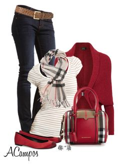 """Burberry & Red Flats"" by anna-campos ❤ liked on Polyvore featuring MUSTANG, Lanvin, VILA, Giuseppe Zanotti and Burberry"