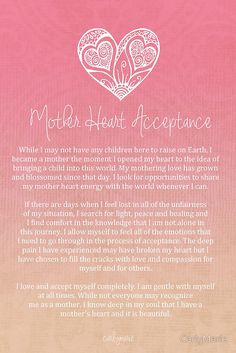 Affirmation - Mother Heart Acceptance for Women unable to raise children here on Earth by CarlyMarie Positive Mind, Positive Vibes, Mantra, Reiki, Daily Affirmations, Positive Affirmations For Anxiety, Morning Affirmations, Mind Body Soul, Spiritual Growth