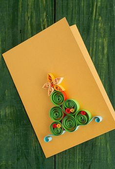 Handmade, quilled Christmas greeting card with cone tree