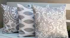 Suzani and Ikat Throw Pillow Cover Trio with Three 20 x 20 Inch Pillow Covers in Storm Gray $36