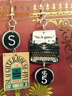 Slauaghterhouse Five Typewriter Book Earrings