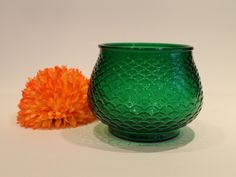 Vintage E.O. Brody Emerald Green Fish Scale Bowl Floral Pot by FunkieFrocks on Etsy