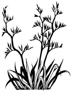 Bush drawing at getdrawings. Bush Drawing, Plant Drawing, Maori Patterns, Native Tattoos, Social Media Art, Bird Stencil, Flax Plant, New Zealand Landscape, Maori Designs