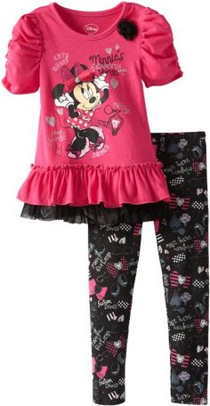 Amazon.com: Disney Girls 2-6X Toddler Minnie Mouse Two-Piece Hearts Pullover and Pant: Clothing