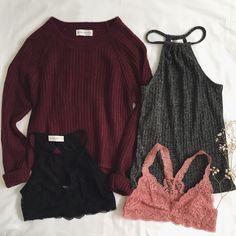 Luna Hi-Low Sweater, Chelsea Marled Tank, Key to My Heart & Sabelle Bralettes #Bralette #sweater #frankiephoenix