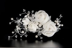 Wedding Hair Clip with Organza Flowers Pearls and Crystal Beads