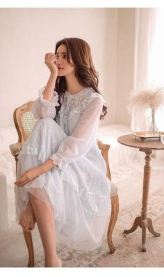 Ladies' chest lace princess necklige tulle sleepwear long sleeve maxi length sweet lolita nightware room one piece pajamas guest room arrival nightly: FairyHouse - mail order - Yahoo! Cute Fashion, Fashion Outfits, Mode Lolita, Vintage Nightgown, Long Sleeve Maxi, Sleepwear Women, Beautiful Lingerie, Nightwear, Night Gown