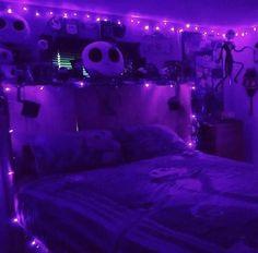 Grunge Bedroom, Neon Bedroom, Purple Bedrooms, Room Design Bedroom, Teen Girl Bedrooms, Room Ideas Bedroom, Diy Bedroom, Teen Bedroom Lights, Galaxy Bedroom
