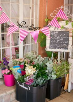 Plenty of flowers for everyone to choose from Flowers For Everyone, Planter Pots, Floral Design, Workshop, Bloom, Pink, Atelier, Floral Patterns, Work Shop Garage