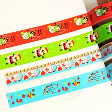 4 Roll Xmas Style Washi Paper Tape Lovely Santa Snowman Christmas Stocking Décor