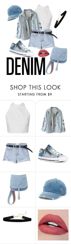 """Denim on Demin"" by harrypotterandthefashionparty ❤ liked on Polyvore featuring Diesel, Steve Madden and Mudd"
