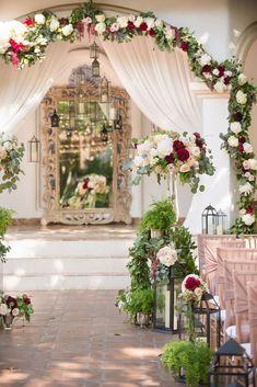 Romantic Wedding Receptions, Wedding Ceremony Flowers, Wedding Ceremony Decorations, Wedding Venues, Aisle Decorations, Wedding Favors, Destination Wedding, Centerpieces, Red Wedding