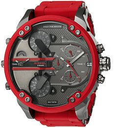 Diesel Men's DZ7370 Mini Daddy Red Silicone Wrap Watch. Bright red watch with textured tech-savvy dial in charcoal tone featuring seven multifunction subdials. 57 mm stainless steel case with mineral dial window. Quartz movement with analog display. Synthetic-covered stainless steel band with deployant-clasp closure. Water resistant to 30 m (99 ft): In general, withstands splashes or brief immersion in water, but not suitable for swimming.