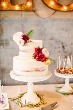 Sugar Bee Sweets created this lovely nearly naked, two tiered red velvet cake! #bridesofnorthtx #weddingcake