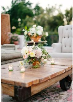 Incorporate rustic and vintage elements. A beautiful wooden bench or coffee table is unexpected outdoors and creates an inviting environment for guests. Planted pots and pretty lanterns accessorize a deck or patio without much effort!