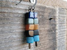 Stacked Cubes Earrings Semi Precious Stones Simple Geometry Geometric Shapes Cubic Squares Minimalist