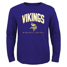 NFL Minnesota Vikings Boys 820 Arched Standard Long Sleeve Tee Purple Large ** Click image to review more details.