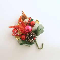 Vintage Christmas Corsage Glass Beads Elf by efinegifts on Etsy