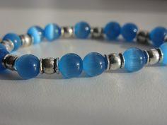 Handmade blue cats eye & Tibetan silver bracelet