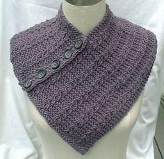 Neck Chest Warmer Scarf Gray Hand Knit Cables by ClearlyChristine