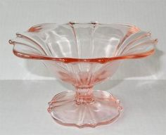 Pink Depression Glass Pedestal Candy Dish Bowl Unknown Maker | eBay Cambridge Glass is the maker